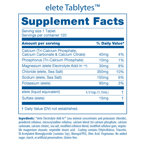 Tablytes Nutrition Facts Panel