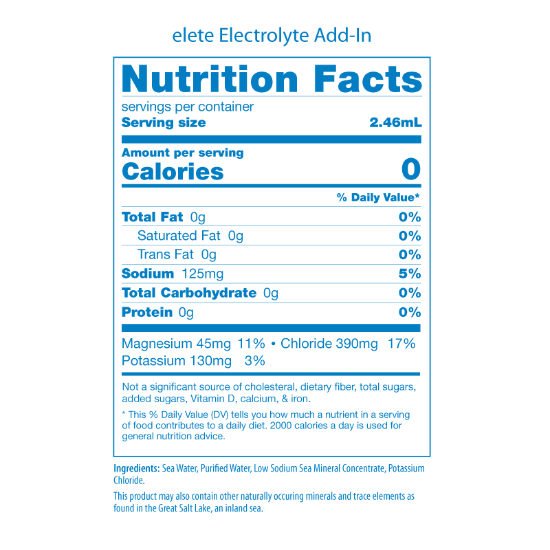 elete Nutrition Facts Panels 2019